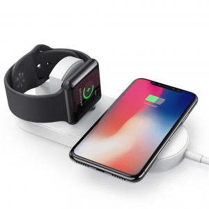 Cheapest Dual Wireless Charging Pad for Apple Watch Series 5/4/3/2/1 and iPhones 11 Pro Max/XS Max/XR or Qi-Enabled Mobile Phones (MH-Q500)