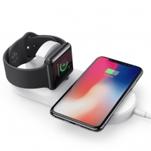 Pad di ricarica wireless doppio più economico per Apple Watch Series 5/4/3/2/1 e iPhone 11 Pro Max / XS Max / XR o telefoni cellulari abilitati Qi (MH-Q500)