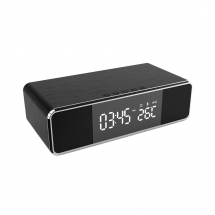 China Multifunctional Wireless Charger Clock With FM Radio And Desktop Bluetooth Speaker With Thermometer Display And Alarm Clock Function (MH-D69) factory