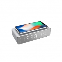 China Newest Modern Design Wireless Charging Alarm Clock and Desktop Thermometer Portable LED Digital Display Mirror Clock for Bedroom Use (MH-D65) factory