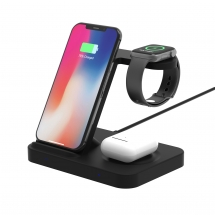 China Private Mould 3 in 1 Fast Wireless Charging Stand for iPhone 11 Pro/XS Max and AirPods Pro/2 and iWatch Series 5/4/3/2/1 and Galaxy Watch and Galaxy Buds (MH-Q475B) factory