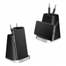 شنتشن Popular Qi Standard Fast Charging Stand Stand for iphone XS Max / XR / X / 8 / 8Plus و Samsung Galaxy S10 / S10Plus وأيضاً حامل قلم رصاص للاستخدام المكتبي (MH-V82)